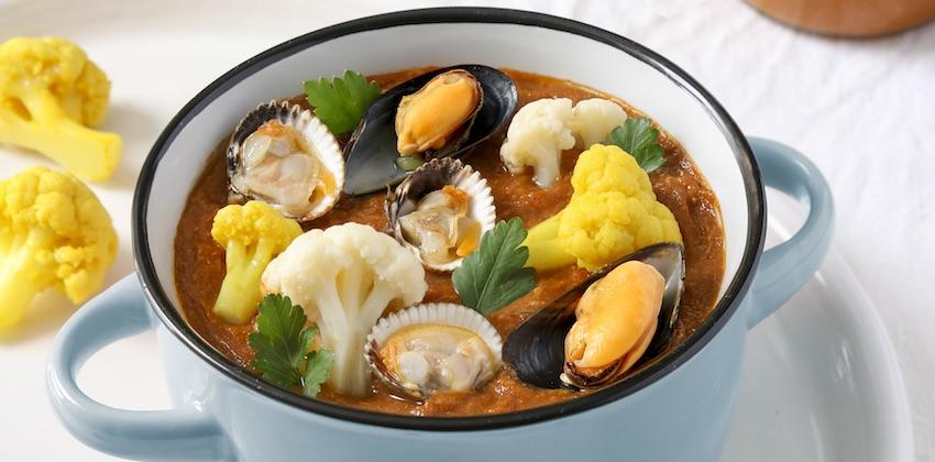 soupe de Cancale fruits de mer et chou-fleur