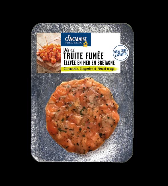 La Cancalaise - Dés de Truite fumée élevée en mer Gingembre, citronnelle, piment rouge