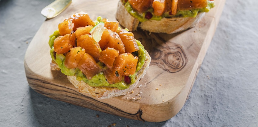 La Cancalaise - recette de Tartines de dés de truites au guacamole